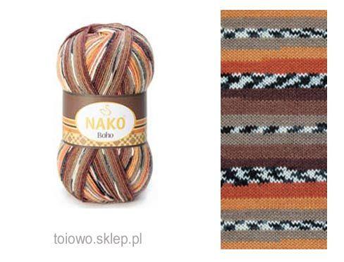 włóczka Nako Boho 81257 w tonacji rudo-brązowej