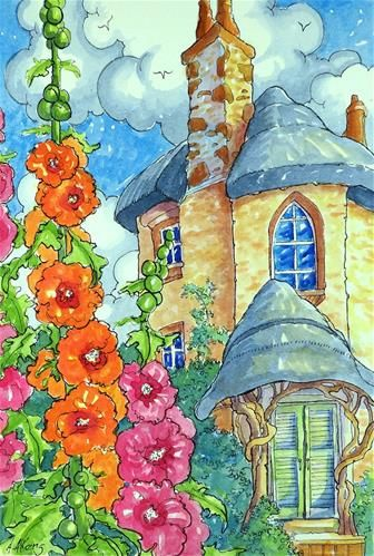 """Daily Paintworks - """"The Hollyhock Tower Storybook Cottage Series"""" - Original Fine Art for Sale - © Alida Akers"""