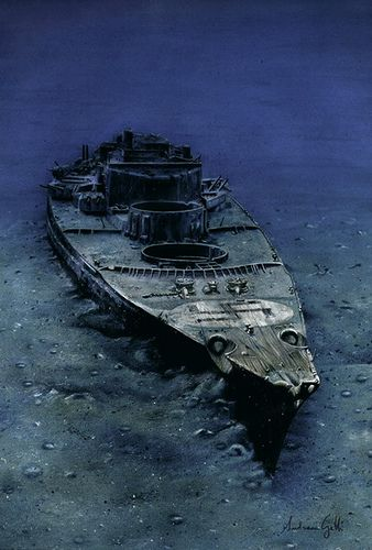 "WWII German battleship ""Bismarck"" in her final resting place. Now this is cool!!"