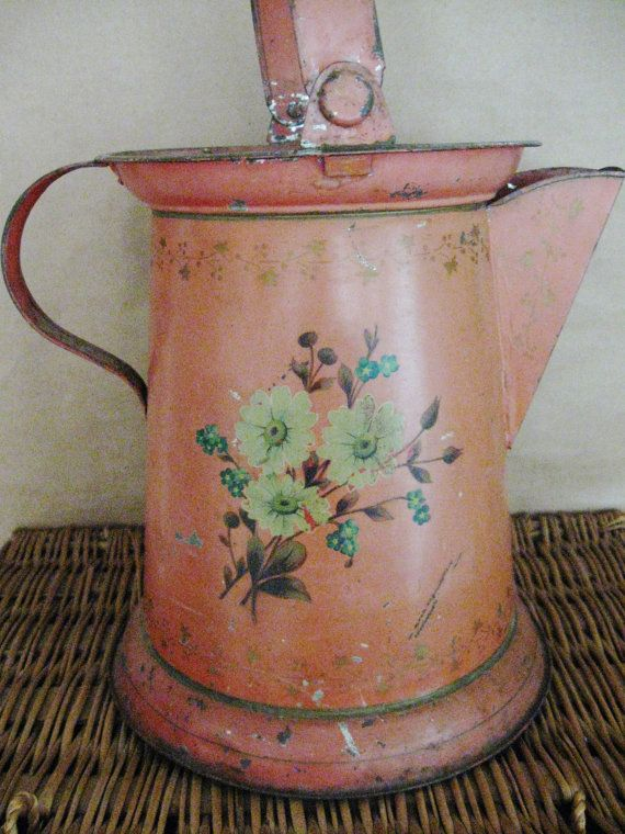 Vintage Metal Watering Can, Handpainted Flowers, Metal Watering Can, Farmhouse Watering Can, Watering Can, Rustic Watering Can, Porch Decor