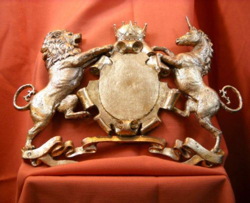 Royal Family Crest Coat Of Arms Lion Unicorn Crown Shield