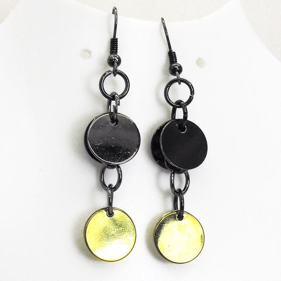 90/'s Mixed Metal and Black Stone Necklace and Earring Set