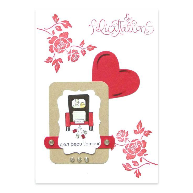 carte f licitations mariage carrosse rouge et noir collection fannyscrap lovely carte cosas. Black Bedroom Furniture Sets. Home Design Ideas