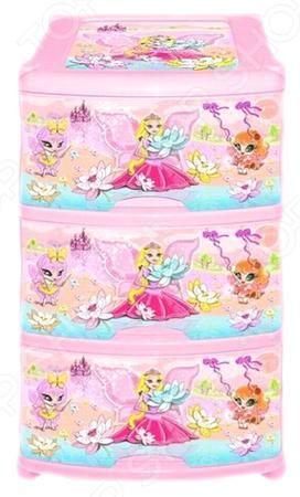 Violet «Фея»  — 1904р. ----------------------------------------- Комод Violet Фея это незаменимый атрибут детской комнаты. Три выдвижных вместительных ящика, удобные ручки и устойчивые ножки обеспечат комфортное хранение одежды, белья, игрушек и различных аксессуаров вашей малышки. Модель изготовлена из прочного, качественного пластика, поэтому прослужит долго. Максимальная нагрузка на 1 ящик составляет 12 кг, а общая на весь комод 36 кг. Украшенный дизайнерским принтом комод Violet Фея…