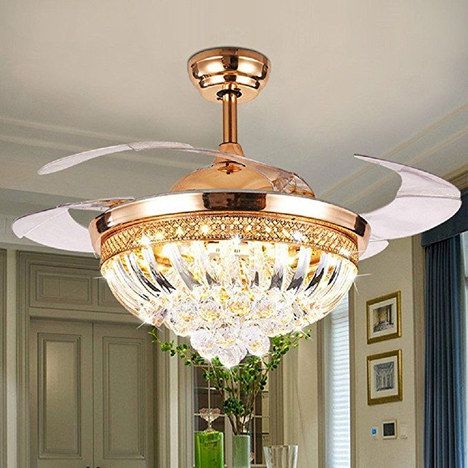Rs Lighting European Hanging Ceiling Fan Light With Remote Luxury Gold Led Light Crystal Stealth C Ceiling Fan With Light Chandelier Fan Ceiling Fan Chandelier