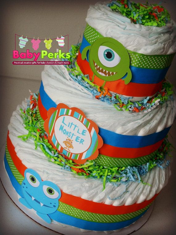 Little Monster Diaper Cake Little Monster Baby Shower  by MsPerks
