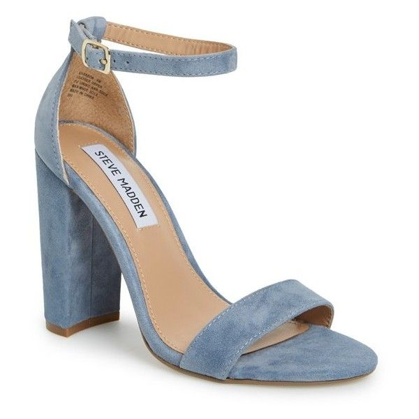 Women's Steve Madden 'Carrson' Sandal ($90) ❤ liked on Polyvore featuring shoes, sandals, heels, blue suede, steve madden sandals, ankle wrap sandals, blue suede shoes, thick heel sandals and thick heel shoes