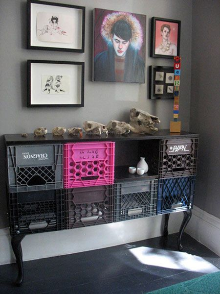 For me, this is really about the skulls on display more so than the milk crate table.