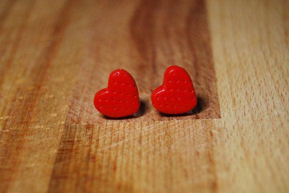 Heart Earrings  Red Strawberry Earrings  by StudioPickles on Etsy #Dorsetteam