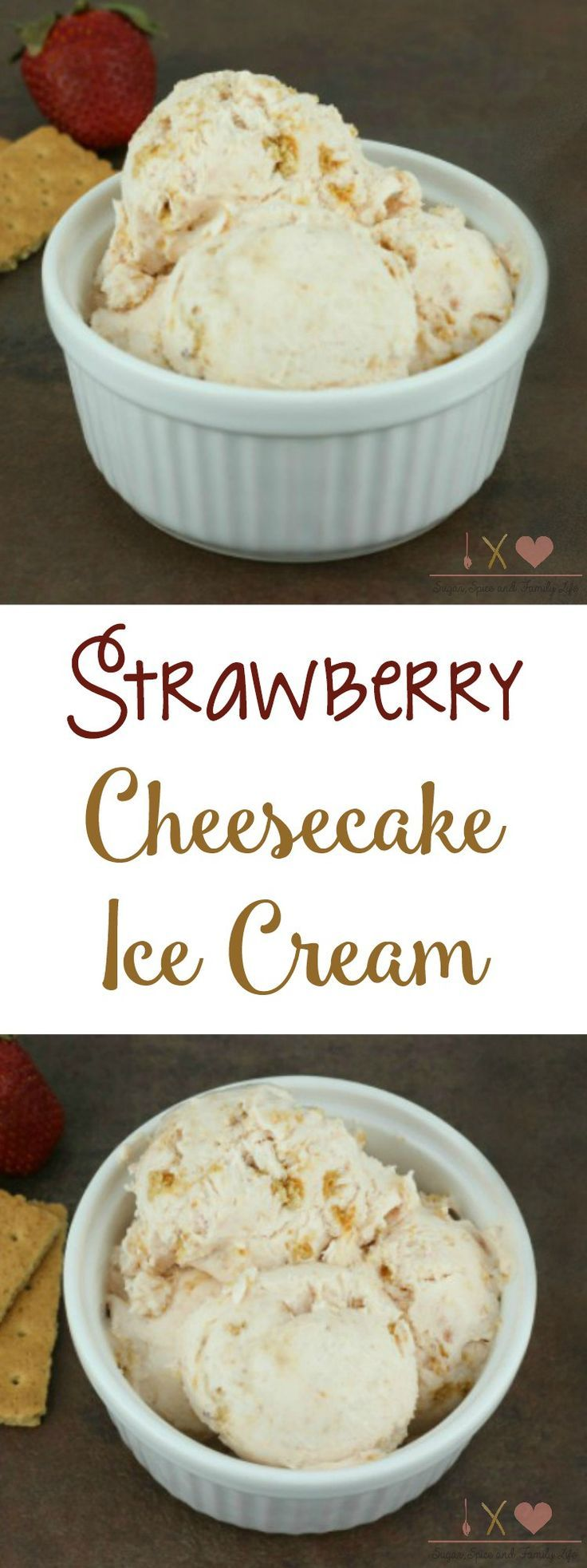 No Churn Strawberry Cheesecake Ice Cream is a delicious and easy dessert. It only contains 4 ingredients (whipping cream, condensed sweetened milk, strawberry cream cheese and graham crackers) and doesn't require an ice cream machine. - Strawberry Cheesecake Ice Cream Recipe – No Machine Needed! on Sugar, Spice and Family Life #icecream #strawberrycheesecake #nochurnicecream #strawberry #cheesecake #grahamcrackers #creamcheese #dessert #recipe