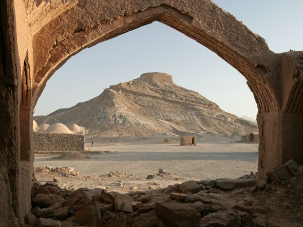 The Zoroastrian Towers of Silence used to be burial sites, where the bodies were left laying in circles to be devoured by vultures, sun, wind and rain.