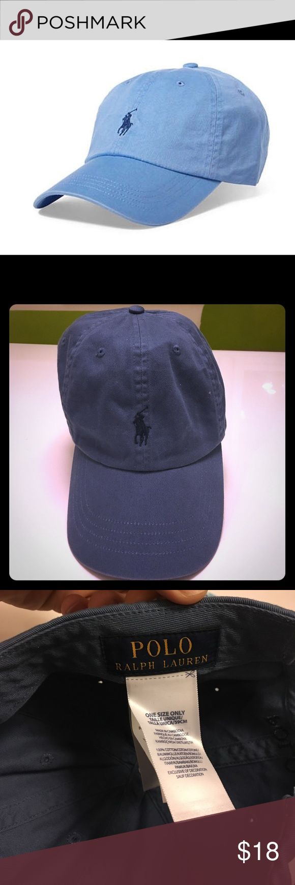 """Polo Ralph Lauren Blue Cotton Chino baseball cap This is a light blue adjustable baseball cap. This cap has only been worn a few times and is in great condition, the main pic I'm using is straight from the polo web site so due to the pro lighting the hat looks lighter blue than it looks in normal lighting. It's a tad darker than """"baby blue"""" and it is officially called """"Austin Blue"""" on the polo website. Let me know if you have any questions. Polo by Ralph Lauren Accessories Hats"""