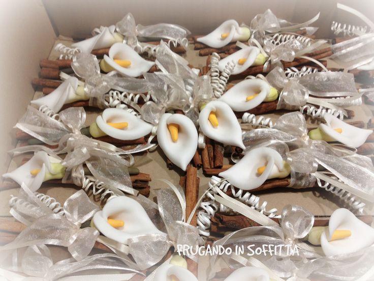 segnaposto matrimonio shabby calle fatte a mano in pasta gabrylea confezionate con bastoncini di cannella