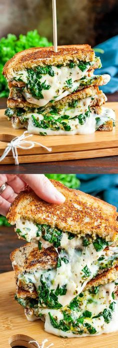 This easy cheesy vegan spinach pesto grilled cheese is ready to straight-up rock your socks off! This plant-based sandwich is SO MELTY!