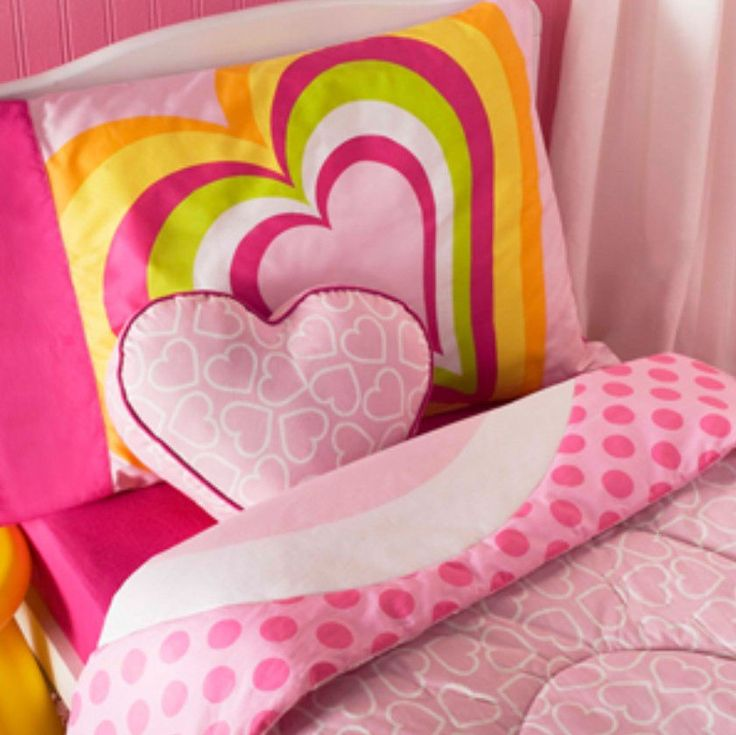 TODDLER BED SIZE - Little Miss Matched - Hearts Pink 4-Pc REVERSIBLE BEDDING SET #LittleMissMatched