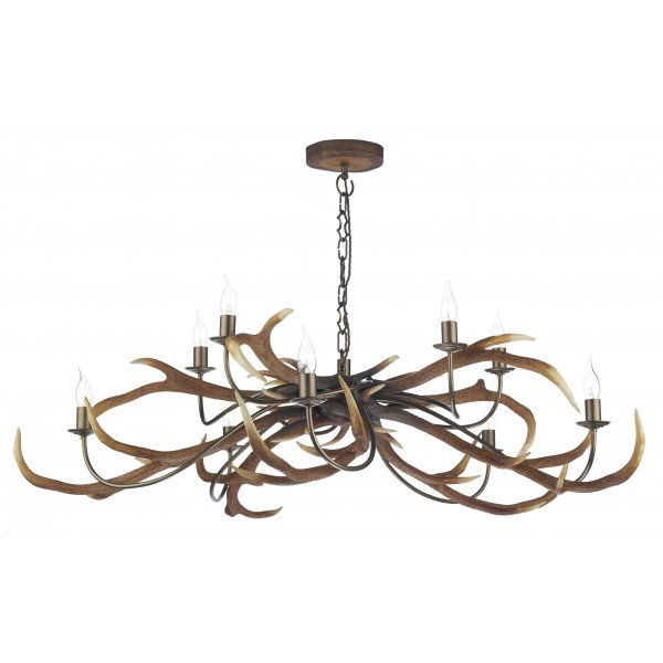 David Hunt Lighting Stag 10 Light Rustic Ceiling Chandelier - David Hunt Lighting from Luxury Lights UK