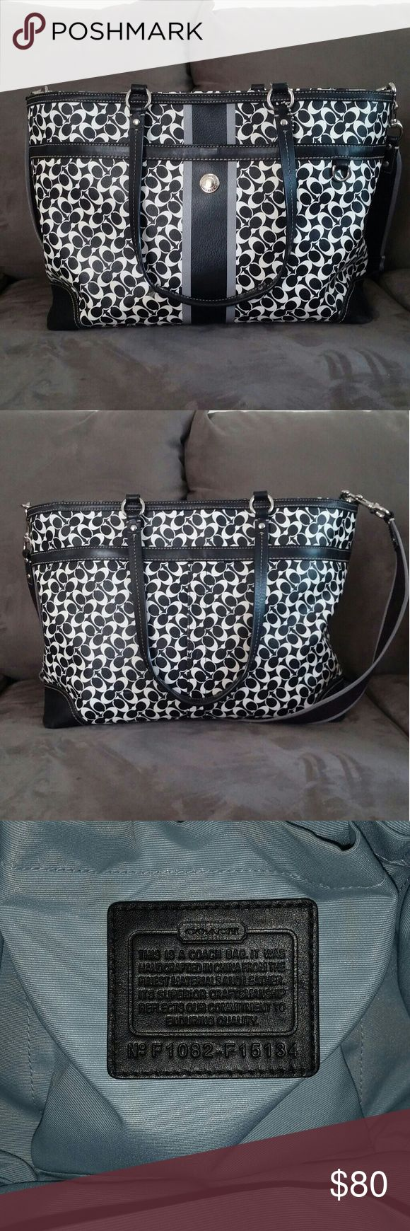 Coach Chelsea Diaper Bag Large sturdy black and white Coach diaper bag or large tote.  Two large outer side pockets.  Lots of inner pockets.  Includes cross body strap, changing pad (some small marks) and coordinating scarf.  Minimal wear and tear.  Leather on bottom corners has some scuffing.  Feel free to ask any questions.  I used this bag for a few months, but am not the original owner. Coach Bags Baby Bags