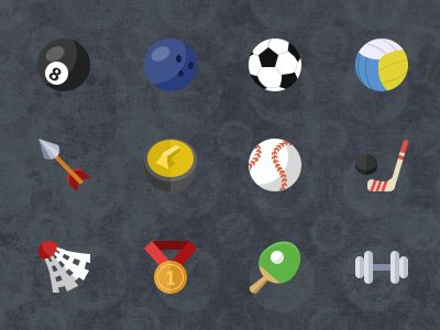 12 Flat sport icons by Stafie Anatolie