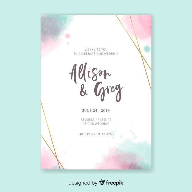 Watercolor Elegant Invitation Card Template Free Vector