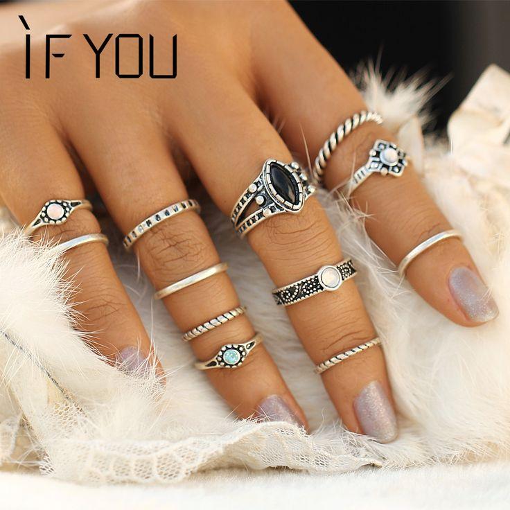 2017 vintage boho ring set tibetischen türkische türkis anillos midi ringe sets für frauen fashion mix steampunk anel aneis schmuck
