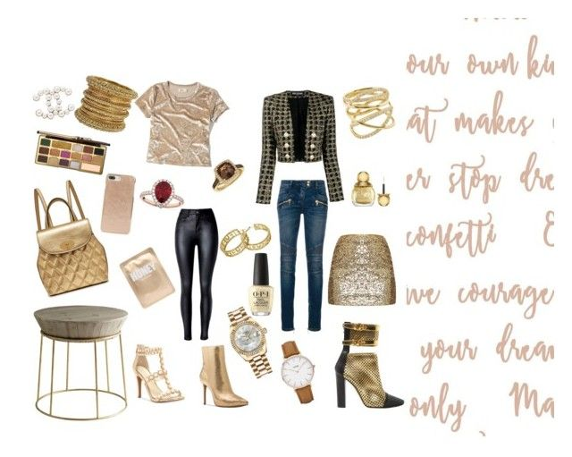 """""""Be Gold ⭐️"""" by love2live-dk on Polyvore featuring Jessica Simpson, CLUSE, LE VIAN, Michael Kors, Balmain, Too Faced Cosmetics, Kate Spade, Lapcos, Chanel and Allurez"""