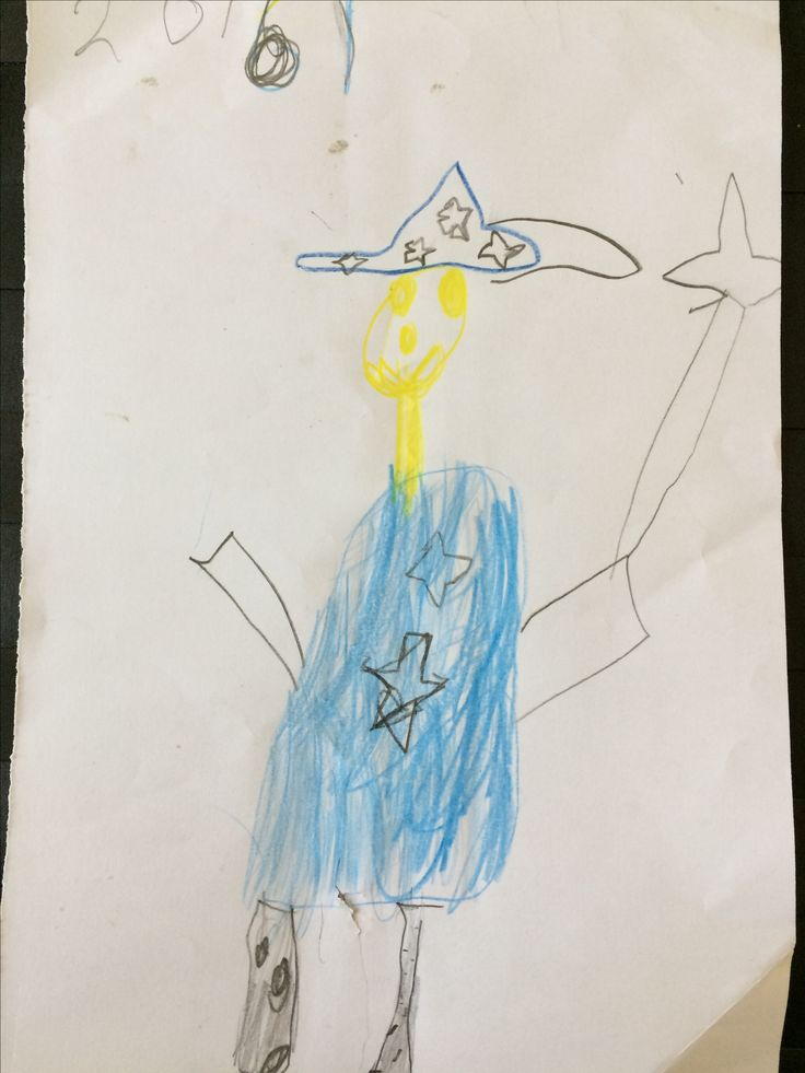 Max, 2e klas, februari 2017, zelfportret als tovenaar.