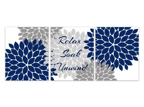 Bathroom canvas or prints wall art relax soak unwind for Navy and white bathroom accessories