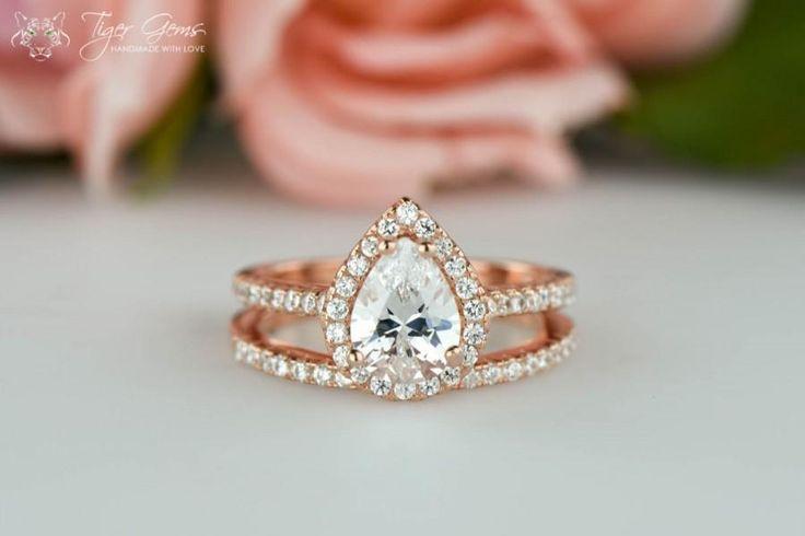 1.5 ctw ROSE Halo Engagement Ring, Pear Cut Ring, Wedding Band, Bridal Ring, Man Made Diamond Simulants, Half Eternity Ring, Sterling Silver