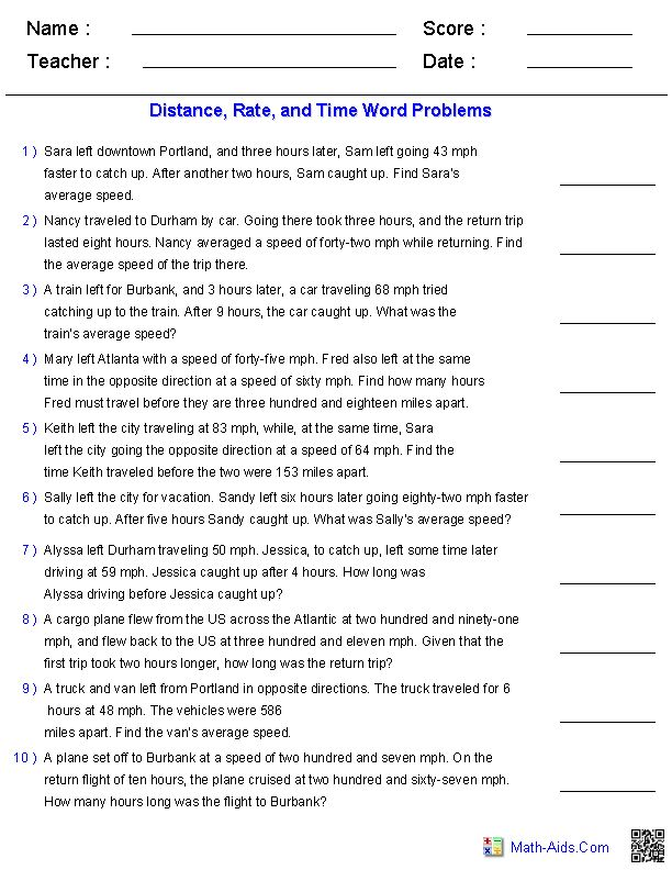 Printables Distance Rate Time Word Problems Worksheet algebra 1 worksheets equations projects to try distance rate and time word problems