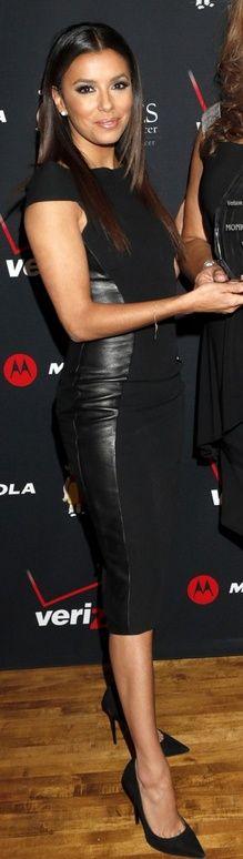 Eva Longoria in black leather dress and black pumps <3