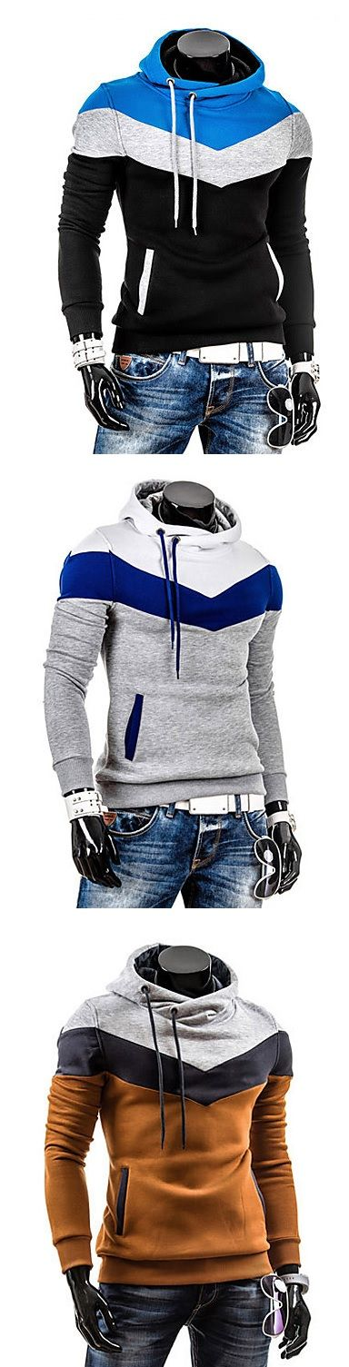 Sport casual hoodie sweatshirt in geometric print. Which color do you like most - blue, grey, navy blue, brown, grey at just $8.54