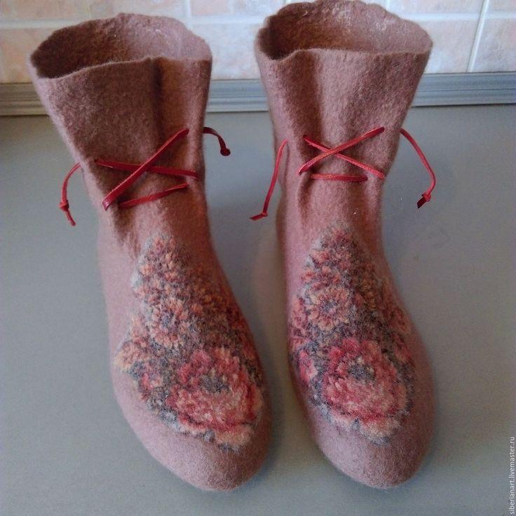 """Купить Носочки валяные """"Уютная зима"""" - бежевый, цветочный, носочки шерстяные, носки ручной работы"""