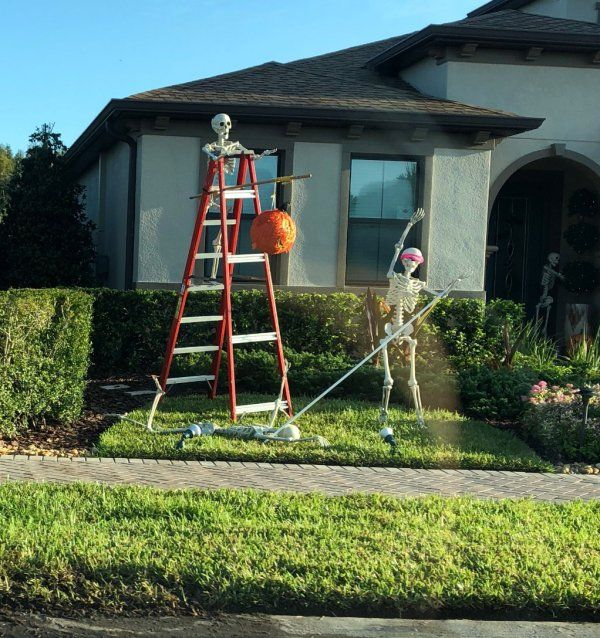 Family Changes Skeleton Setup Every Day In October And We Need More Neighbors Like These 20 Photos Halloween Skeletons Funny Halloween Decorations Halloween Skeleton Decorations
