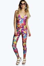 Penny Tropical Floral Print Disco Festival Catsuit alternative image