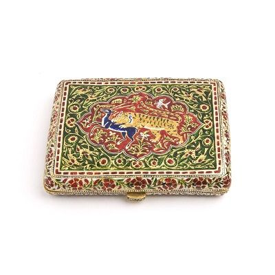 A Mughal Gold Enamelled Cigarette Case  North India  19th Century.  Depth: 7cm,  Length: 10cm.    A finely enamelled gold cigarette box enamelled on both sides. The top with a tiger killing a black buck the reverse with fine neamelling in the Jaipur tradition. SOLD