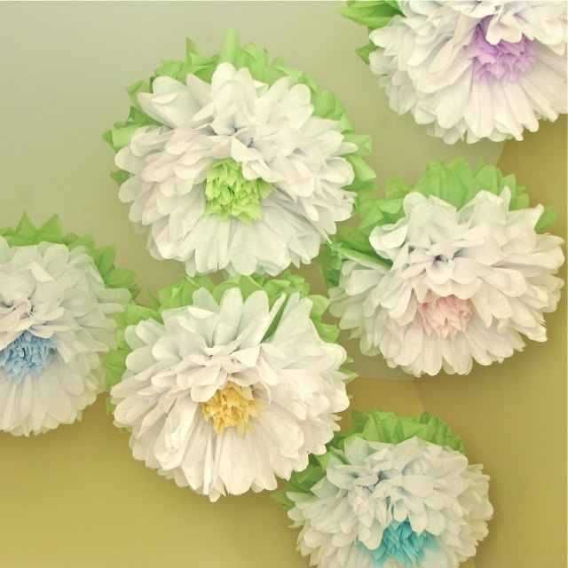Wall Decor Tissue Paper : Whitewashed wonderland giant tissue paper pom flowers