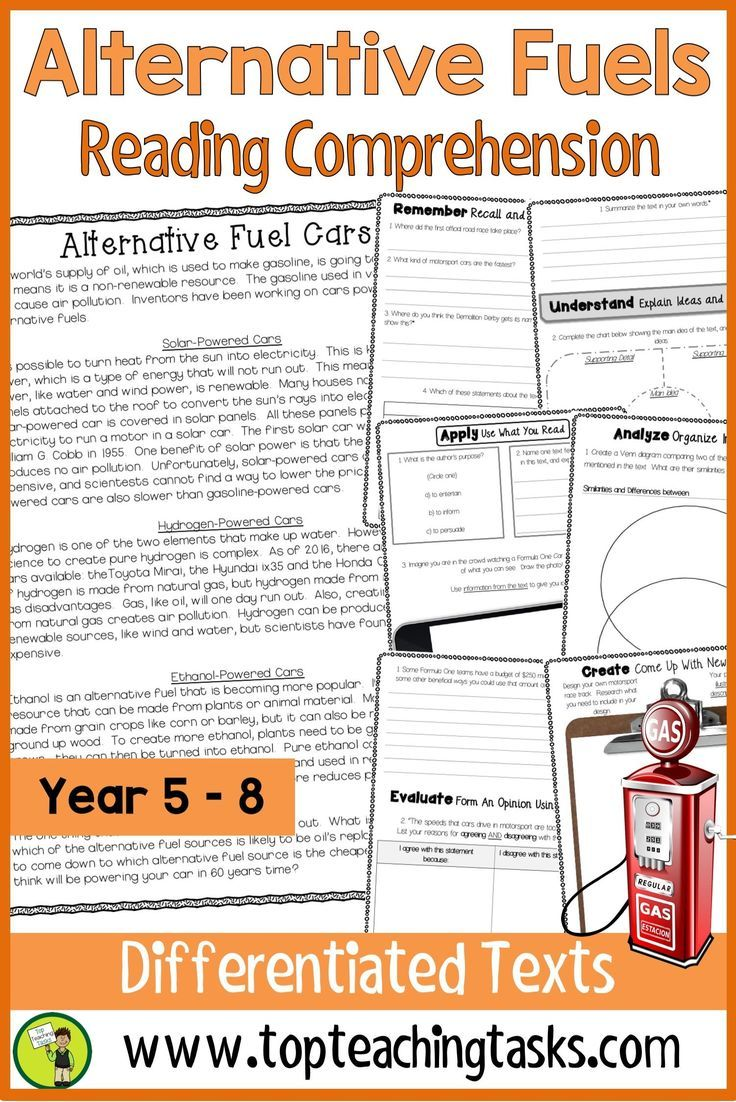 Alternative Fuels Reading Comprehension Passages And Activities Your Upper P Reading Comprehension Higher Order Thinking Skills Reading Comprehension Passages [ 1102 x 736 Pixel ]