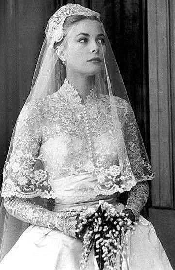 Grace Kelly wearing her 1950's wedding dress