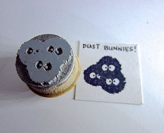 """Dust Bunnies - Totoro Inspired dust bunnies Rubber Stamp on Reclaimed Wood Mount Small 0.75"""" on Etsy, $5.06"""