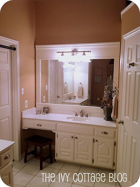 Boring Builder 39 S Grade To Beautiful Bathroom Mirror Tutorial Dream Home Pinterest