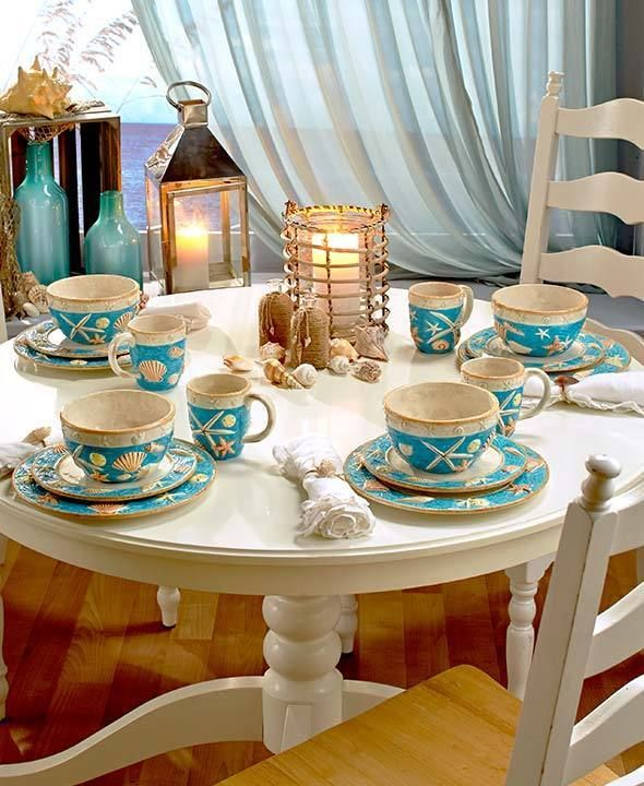 16 pc Coastal Cottage Seashell Dinnerware Set Serving for ...