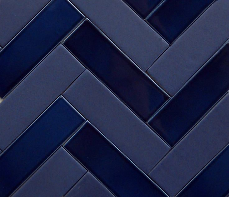 tone on tone indigo blue 2x6 herringbone using a glossy ...