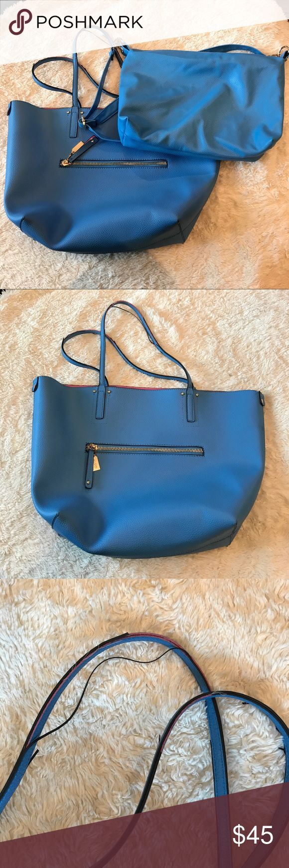 BLUE Aldo tote bag DUO This listing comes with 2 bags.  One shoulder strap tote with the matching bag that can be worn inside the tote or separately.  Second bag has adjustable strap.  Note peeling tote bag  straps (picture). Aldo Bags Totes