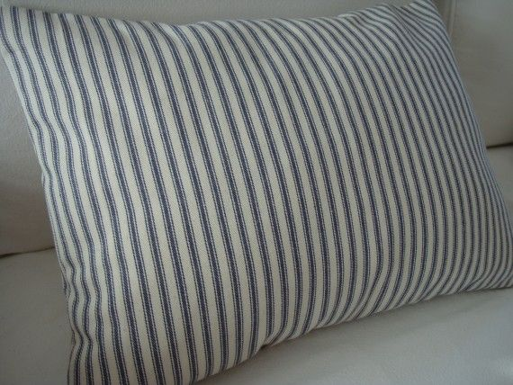 Beach Cottage Ticking/DOWN And Feather/Paris Apartment/ Shabby Chic/Blue Ticking Stripe Pillow