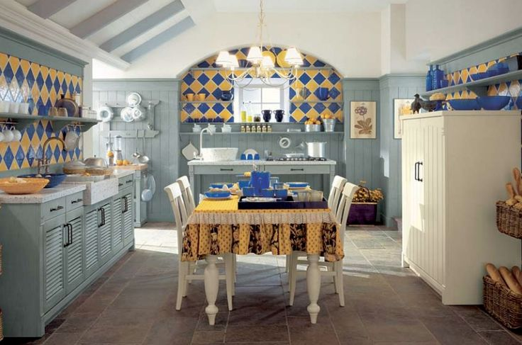 Aesthetic Italian Kitchen Design: Blue And Yellow Tile Country Kitchen ~ Kitchen Inspiration