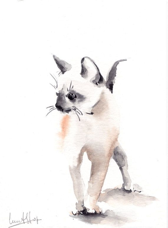 Original Watercolor Painting of Kitten One of a Kind Art Grey Minimalist Cat Painting Cat Art, Watercolour Art  Scale: 6x8 (15x20 cm) Medium: top branded watercolor paints on water color cold press paper 140 lb (300g)  Signed front and back Dated on back Not framed and not matted.  All paintings are gift wrapped in a cellophane insert and cardboard support to best protect, shipped by Registered International Mail with tracking number.  For more Original Paintings please check…