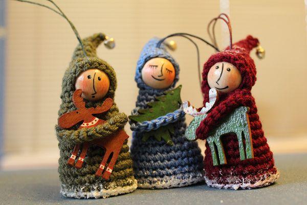 Новогодний декор, новогодние украшения, ёлочные украшения, деревянные игрушки, вязание, человечки, гномы, игрушки