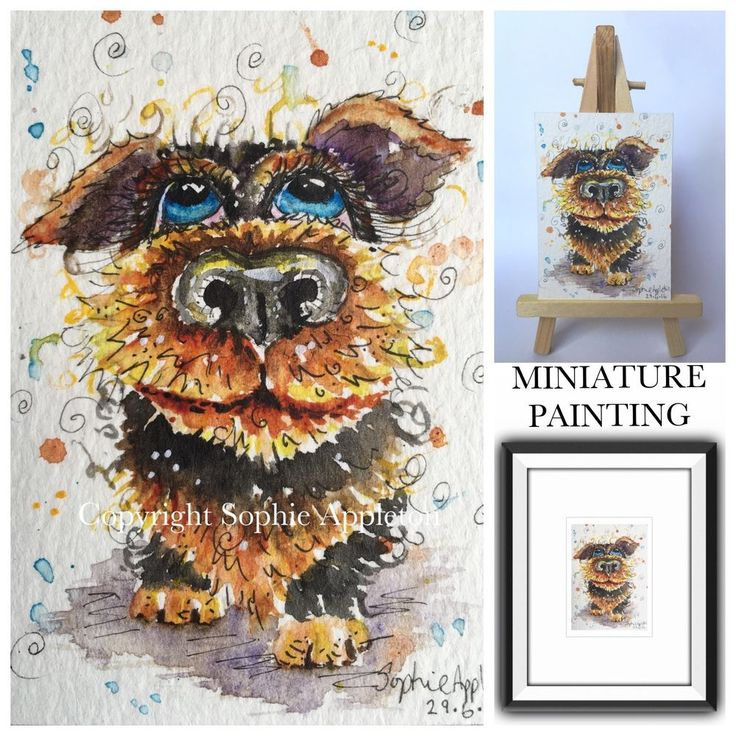 ACEO Miniature Original Watercolour Painting DOG , LET ME IN. by Sophie Appleton #ACEOartcards