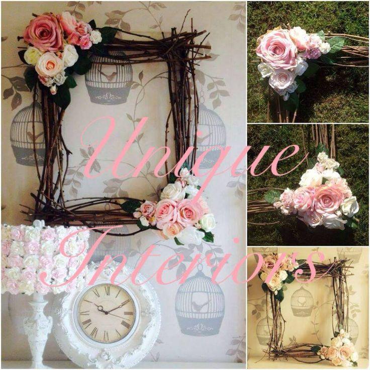handmade twig frame floral craft DIY handmade wedding