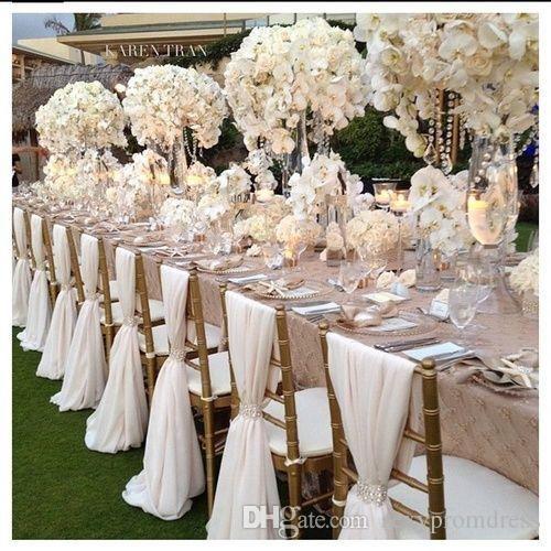 Nice Romantic Chiffon Wedding Party Anniversary Chair Sash Party Banquet  Decorations 20 Pieces/ Set Wedding Chair Sash 150cmx50cm